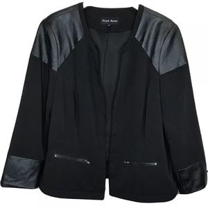 Black Rainn Open Front Jacket Black Faux Leather